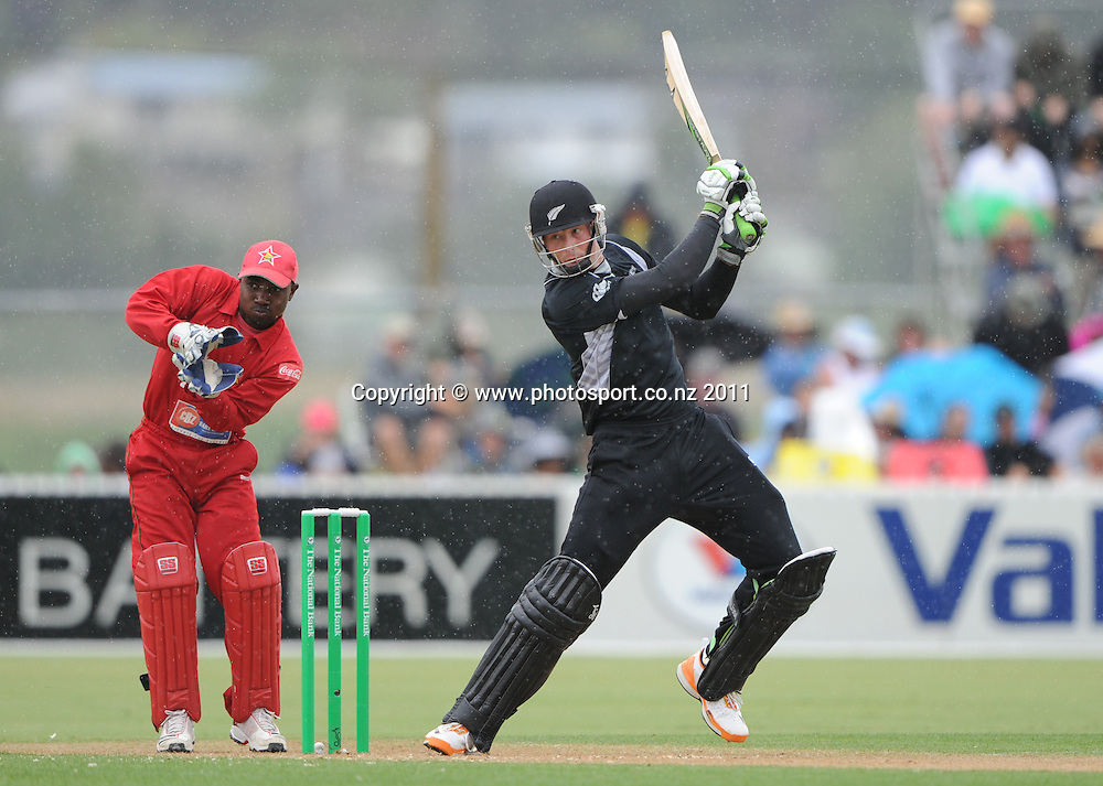 Martin Guptill batting at the 2nd ODI cricket match between New Zealand and Zimbabwe at Cobham Oval in Whangarei, Monday 6 February 2012. Napier, New Zealand. Photo: Andrew Cornaga/Photosport.co.nz