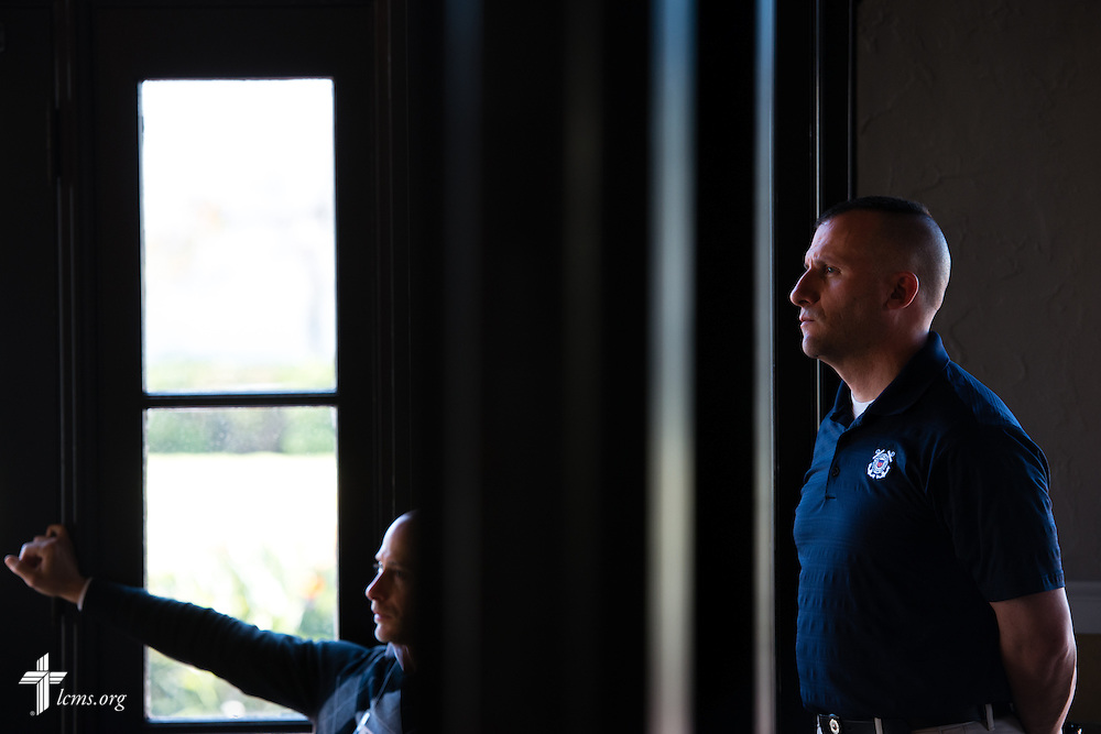 (L-R) Pastor John Bombaro of Grace Lutheran Church and Chaplain Scott Shields of Rock Springs, Wyo., listen during the 2015 West Coast Lutheran Chaplains Professional Development Seminar Tuesday, Jan. 27, 2015, at North Island Naval Air Station in San Diego, Calif. LCMS Communications/Erik M. Lunsford