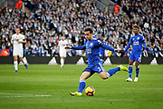 Leicester City defender Ben Chilwell (3) gets in a shot during the Premier League match between Leicester City and Burnley at the King Power Stadium, Leicester, England on 10 November 2018.