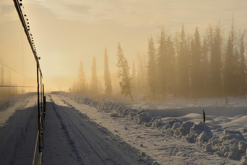 Alaska Railroad trip from Anchorage to Fairbanks in the winter,Alaska,USA