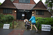 On polling day of the UK's EU (European Union) Referendum Day, voters exit the Polling Station in Dulwich Village, on 23rd June 2016, in south London, United Kingdom.