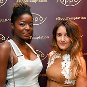Style icon Nat & Maria Jordan attend the Oppo party to launch its new Madagascan Vanilla, Sicilian Lemon and Raspberry Cheesecakes, served with Skinny Prosecco at Farm Girls Café, 1 Carnaby Street, Soho, London, UK on July 18 2018.