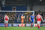 AFC Wimbledon Goalkeeper George Long (1) gives instructions to the team during the EFL Sky Bet League 1 match between AFC Wimbledon and Fleetwood Town at the Cherry Red Records Stadium, Kingston, England on 30 March 2018. Picture by Stephen Wright.