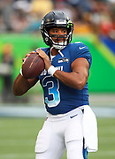 Jan 28, 2018; Orlando, FL, USA; NFC quarterback Russell Wilson of the Seattle Seahawks (3) warms up before playing in the 2018 NFL Pro Bowl at Camping World Stadium. The AFC defeated the NFC 24-23. (Steve Jacobson/Image of Sport)