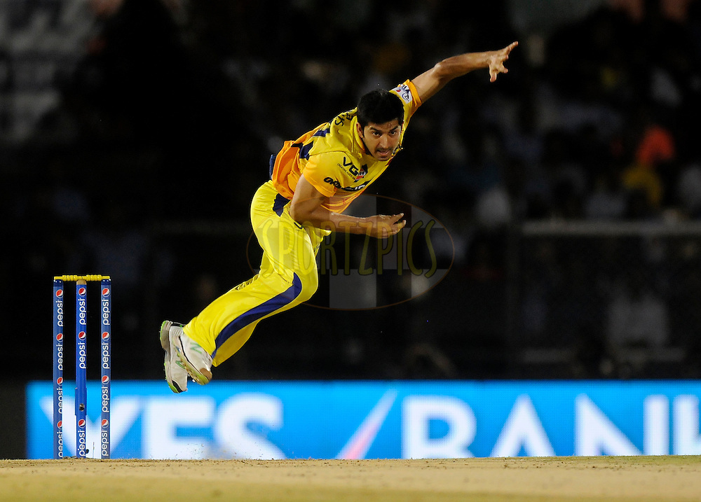Mohit Sharma of The Chennai Superkings bowls during the eliminator match of the Pepsi Indian Premier League Season 2014 between the Chennai Superkings and the Mumbai Indians held at the Brabourne Stadium, Mumbai, India on the 28th May  2014<br /> <br /> Photo by Pal PIllai / IPL / SPORTZPICS<br /> <br /> <br /> <br /> Image use subject to terms and conditions which can be found here:  http://sportzpics.photoshelter.com/gallery/Pepsi-IPL-Image-terms-and-conditions/G00004VW1IVJ.gB0/C0000TScjhBM6ikg