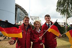 Ostholt, Andreas (GER);<br /> Leyen, Ursula von der (Bundesministerin der Verteidigung);<br /> Peiler, Dr. Dennis (Geschäftsführer DOKR) <br /> Aachen - CHIO 2016<br /> <br /> © Stefan Lafrentz