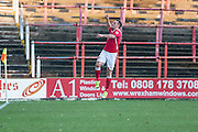 Wrexham's Shaun Harrad celebrates his goal, 1-0 during the Vanarama National League match between Wrexham FC and Forest Green Rovers at the Racecourse Ground, Wrexham, United Kingdom on 26 November 2016. Photo by Shane Healey.