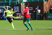 Brighton's Kate Natkielscores for her team, 1-1 during the FA Women's Premier League match between Coventry United Ladies and Brighton Ladies at Bedford United FC, Bedford, United Kingdom on 21 February 2016. Photo by Shane Healey.