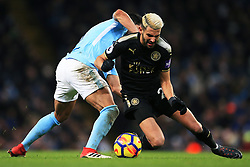 Riyad Mahrez of Leicester City takes on Ilkay Gundogan of Manchester City - Mandatory by-line: Matt McNulty/JMP - 10/02/2018 - FOOTBALL - Etihad Stadium - Manchester, England - Manchester City v Leicester City - Premier League