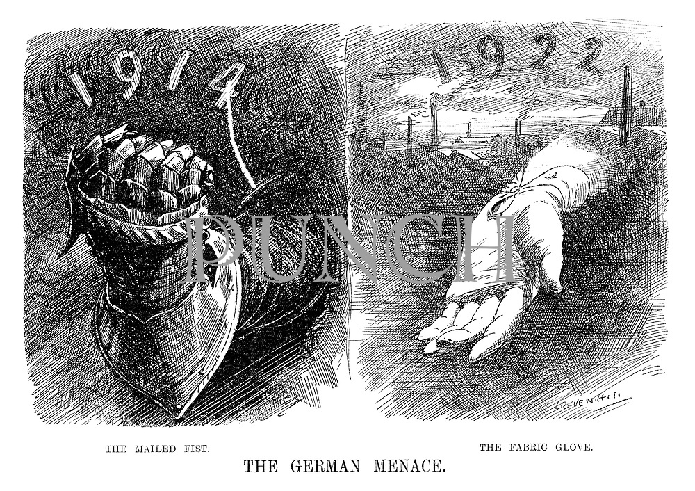 The German Menace. The Mailed Fist. The Fabric Glove. (an InterWar era cartoon comparing the threat from Germany in 1914 as military and 1922 as industrial)