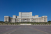 Front Facade. The Palace of the Parliament (Also known as Ceausescu's Palace or House of The People) in Bucharest, Romania. Built 1983-1989. Architect: Anca Petrescu