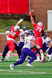 NORMAL, IL - October 06: Trey Georgie gets high and deflects a pass by Sean McGuire during a college football game between the ISU (Illinois State University) Redbirds and the Western Illinois Leathernecks on October 06 2018 at Hancock Stadium in Normal, IL. (Photo by Alan Look)