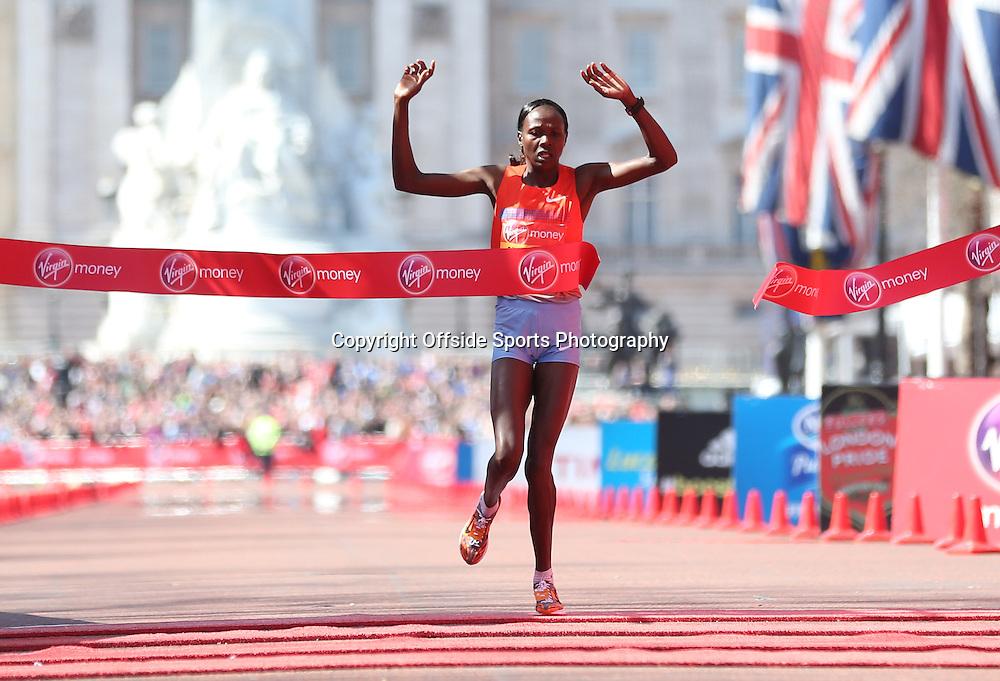 21st April 2013 - Virgin London Marathon - **** - Photo: Lee Mills / Offside.<br /> <br /> Priscah Jeptoo of Kenya wins the Elite Womens Race