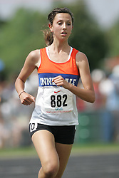 Hamilton, Ontario ---07/06/08--- Rachel Islam of Innisdale in Barrie competes in the 3000 meters at the 2008 OFSAA Track and Field meet in Hamilton, Ontario..Sean Burges
