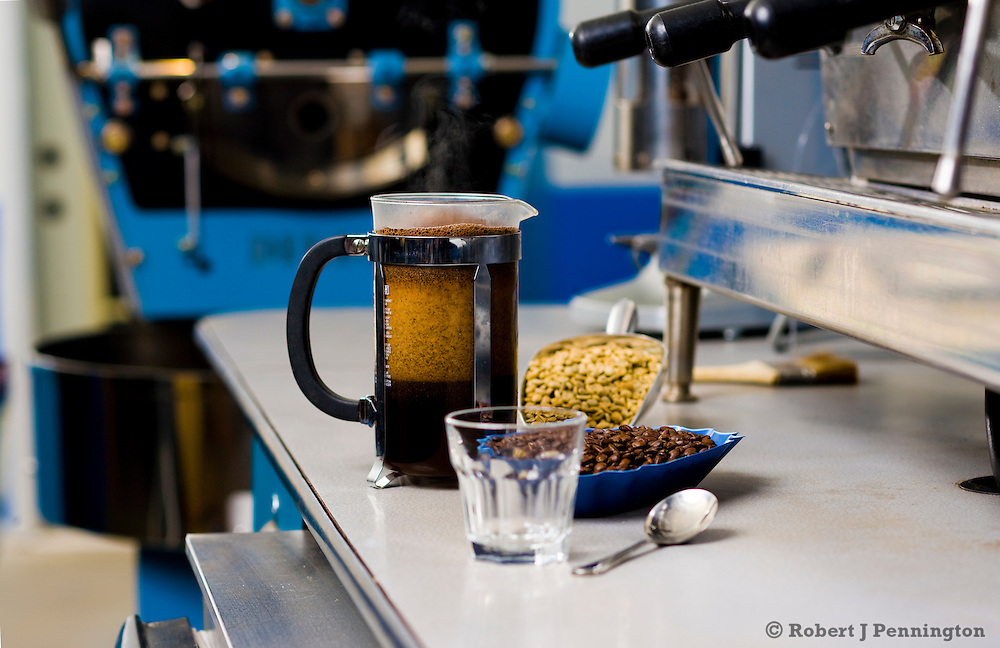 The tools of coffee roasting and tasting.