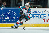 KELOWNA, CANADA - APRIL 25: Calvin Thurkauf #27 of the Kelowna Rockets skates with the puck against the Seattle Thunderbirds on April 25, 2017 at Prospera Place in Kelowna, British Columbia, Canada.  (Photo by Marissa Baecker/Shoot the Breeze)  *** Local Caption ***