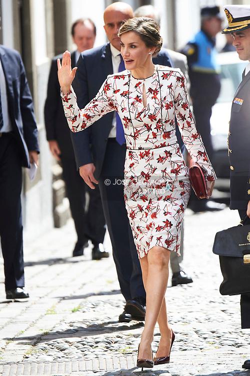 Queen Letizia of Spain attended the Presentation on the Unesco World Heritage candidature of the Cultural Landscape of 'Risco Caido' and the 'Espacios Sagrados de Montaña de Gran Canaria' at Casa de Colon on April 24, 2017 in Las Palmas de Gran Canaria, Spain.