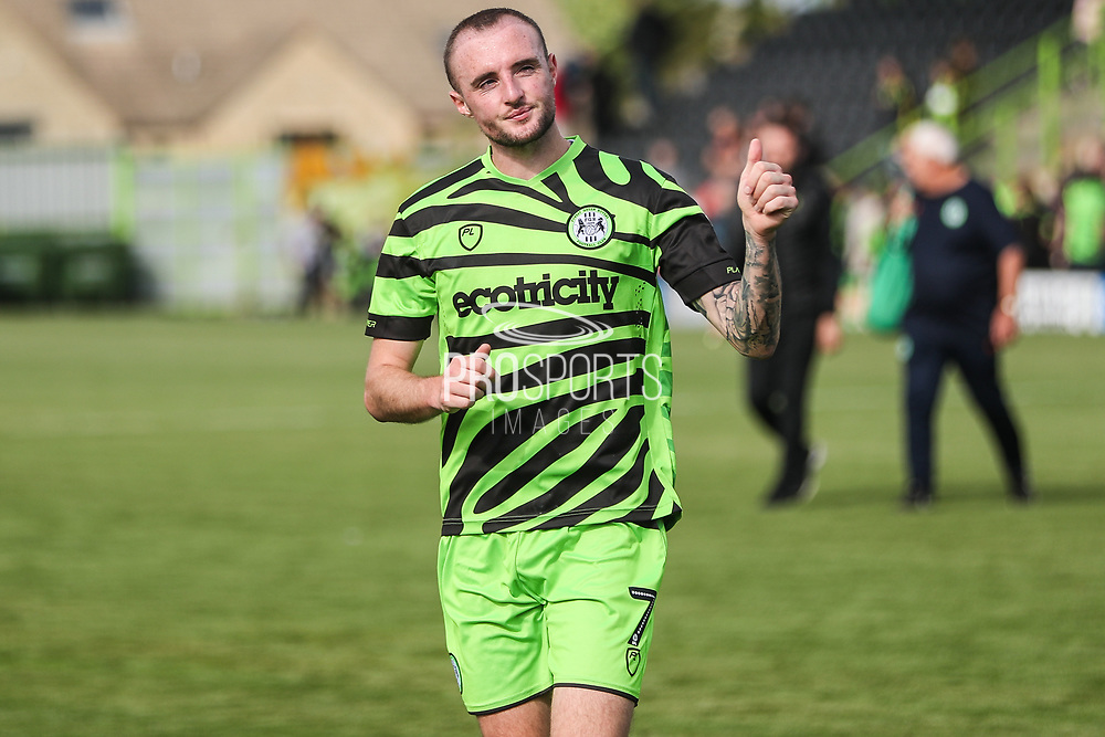 Forest Green Rovers Carl Winchester(7) applauds the supporters at the end of the match during the EFL Sky Bet League 2 match between Forest Green Rovers and Grimsby Town FC at the New Lawn, Forest Green, United Kingdom on 17 August 2019.