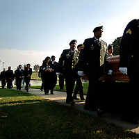 California National Guardsmen of The 40th Infantry carry the casket of Sgt. Quoc Binh Tran of Mission Viejo, Calif. at the Riverside National Cemetery in Riverside, Calif., Saturday, Nov. 20th 2004. Tran was killed by a road side bomb in Iraq. (Ap Photo/The Sun, Eric Reed) **LA Times, Ventura Star, Press Enterprise OUT**Mandatory Credit**