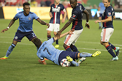 August 20, 2017 - New York, New York, United States - David Villa (7) of NYC FC taken down during regular MLS game against New England Revolution on Yankee stadium NYC FC won 2 - 1  (Credit Image: © Lev Radin/Pacific Press via ZUMA Wire)