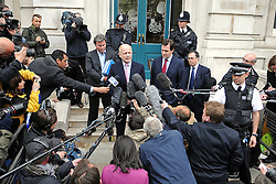 09/05/2010 Liberal Democrat and Conservative senior politicians after holding 8 hr talks on forming Government at the Cabinet Rooms in Whitehall today...The Lib Dem team comprises home affairs spokesman Chris Huhne, Nick Clegg's chief of staff Danny Alexander, children's spokesman David Laws and Andrew Stunell, the vice chairman of the campaign team...Representatives from the Conservatives include Mr Hague, shadow chancellor George Osborne, senior MP Oliver Letwin and David Cameron's chief of staff Ed Llewellyn.
