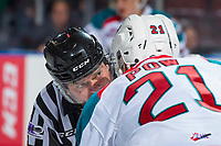 KELOWNA, CANADA - NOVEMBER 11: \Referee Reagan Vetter speaks to Gordie Ballhorn #4 of the Kelowna Rockets against the Red Deer Rebels on November 11, 2017 at Prospera Place in Kelowna, British Columbia, Canada.  (Photo by Marissa Baecker/Shoot the Breeze)  *** Local Caption ***