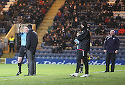 Dumbarton Ian Murray is lectured by referee Brian Colvin after protesting that a Bryan Prunty effort had crossed the line, Dundee manager John Brown looks on - Dundee v Dumbarton, SPFL Championship at Dens Park<br /> <br />  - &copy; David Young - www.davidyoungphoto.co.uk - email: davidyoungphoto@gmail.com
