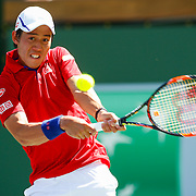 March 18, 2016, Palm Springs, CA:<br /> Kei Nishikori in action during a quarter-final match against Rafael Nadal during the 2016 BNP Paribas Open at the Indian Wells Tennis Garden in Indian Wells, California Friday, March 18, 2016.<br /> (Photos by Billie Weiss/BNP Paribas Open)