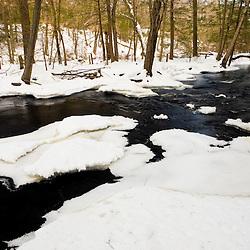 Winter on the Indian Head River at the Tucker Preserve in Pembroke, Massachusetts.  Wildlands Trust of Southeastern Massachusetts.