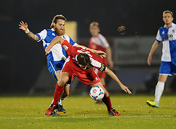 Bristol Rovers' Stuart Sinclair battles for the ball with Welling United's Benjamin Buchel  - Photo mandatory by-line: Joe Meredith/JMP - Mobile: 07966 386802 - 29/11/2014 - SPORT - Football - Bristol - Memorial Stadium - Bristol Rovers v Welling - Vanarama Conference
