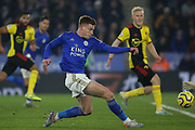 Harvey Barnes (15) of Leicester City shoots during the Premier League match between Leicester City and Watford at the King Power Stadium, Leicester, England on 4 December 2019.
