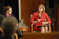 Federal Reserve Bank of Cleveland President Sandra Pianalto at the 'Conversation on the Economy,' a forum held at Pfahl Hall in the Fisher College of Business at Ohio State on Nov. 30, 2010..