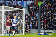 Aaron Connolly (Brighton) lying across the pitch after his attempt at goal with Leondro Trossard (Brighton) in the foreground during the Premier League match between Brighton and Hove Albion and Aston Villa at the American Express Community Stadium, Brighton and Hove, England on 18 January 2020.