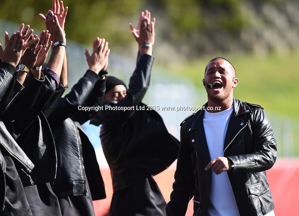 Singer Stan Walker performs before the start of the FIFA U20 World Cup match, New Zealand Junior All Whites v Ukraine. North Harbour Stadium, Auckland, New Zealand. Saturday 30 May 2015. Copyright Photo: Andrew Cornaga / www.photosport.co.nz