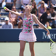 2017 U.S. Open - AUGUST 28. DAY ONE. Kristyna Pliskova of the Czech Republic in action against Misa Eguchi of Japan on court five during the Women's Singles round one match at the US Open Tennis Tournament at the USTA Billie Jean King National Tennis Center on August 28, 2017 in Flushing, Queens, New York City. (Photo by Tim Clayton/Corbis via Getty Images))