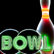Lighted bowling ball, pin, word BOWL illuminated by neon