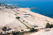 Aerial photography of Caesarea ruins. The Old City and port, Israel