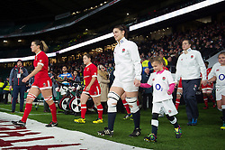 Sarah Hunter of England leads her team out onto the field - Mandatory byline: Patrick Khachfe/JMP - 07966 386802 - 26/11/2016 - RUGBY UNION - Twickenham Stadium - London, England - England Women v Canada Women - Old Mutual Wealth Series.