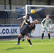 St Johnstone new boy Darnell Fisher (on loan from Celtic) out jumps Dundee's trialist midfielder - Dundee v St Johnstone - SPFL development league <br /> <br />  - &copy; David Young - www.davidyoungphoto.co.uk - email: davidyoungphoto@gmail.com