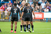 Bradford Bulls players celebrate their victory during the Kingstone Press Championship match between Oldham RLFC and Bradford Bulls at Bower Fold, Oldham, United Kingdom on 13 August 2017. Photo by Simon Davies.