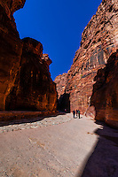 The Siq, the mile long narrow gorge that leads into the Petra Archaeological Park, Jordan.