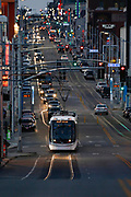 KC Street Car and other traffic on Main Street in Kansas City, Mo., March 9, 2017. (Colin E. Braley)