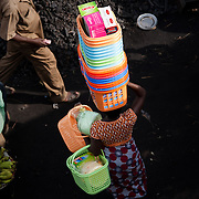 A basket seller in the main thoroughfare of Agbogbloshie, a slum in Ghana's capital, Accra.