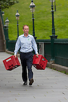 jim Murphy walking in Edinburgh to the Mound in order to give his speech.<br /> MP to resume referendum campaign tour. Jim Murphy to make the case for the United Kingdom during his 100 Streets in 100 Days project<br /> Pako Mera/Universal News And Sport (Europe) 02/09/2014