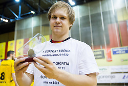Stas Skube of Gorenje, MVP of the National Championship after the handball match between RK Gorenje Velenje and RK Celje Pivovarna Lasko in Final match of 1st NLB League - Slovenian Championship 2013/14 on May 23, 2014 in Rdeca dvorana, Velenje, Slovenia. RK Celje Pivovarna Lasko became 18-times Slovenian National Champion. Photo by Vid Ponikvar / Sportida