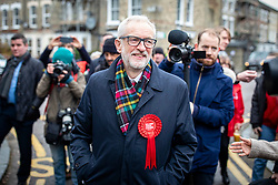 © Licensed to London News Pictures. 12/12/2019. London, UK. Labour Party Leader Jeremy Corbyn arrives at Pakeman Primary School in North London to cast his vote in the 2019 General Election. Photo credit: Rob Pinney/LNP