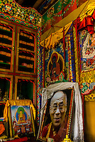 Portraits of the Dalai Lama, Diskit Monastery, Nubra Valley, Ladakh, Jammu and Kashmir State, India.