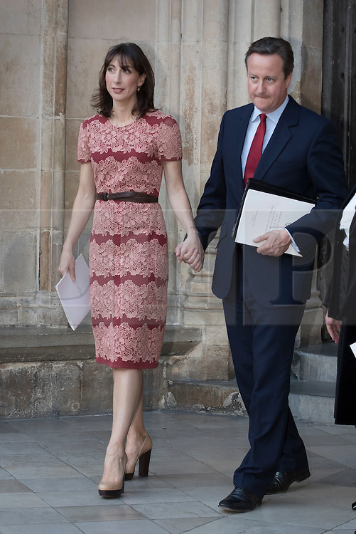 © Licensed to London News Pictures. 30/06/2016. London, UK. Prime Minister David Cameron his wife Samantha Cameron leave Westminster Abbey after attending The Battle of the Somme Centenary Service and Vigil. An overnight vigil at the Grave of the Unknown Warrior will start tonight and end at 0730 tomorrow morning. Photo credit: Peter Macdiarmid/LNP