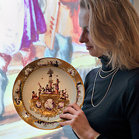 London November 24th Nette Megens a Bonhams Specialist poses with a Meissen circular dish  dating circa 1735 that will be part of the Part 1  Hoffmeister Collection sale on Wednesday 25th November at Bonhams in London<br /> <br /> <br /> ***Agreed Fee's Apply To All Image Use***<br /> Marco Secchi /Xianpix<br />  tel +44 (0) 771 7298571