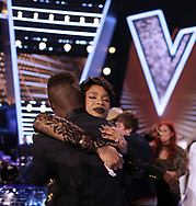 Mo Adeniran is announced as the winner and celebrates with Jennifer Hudson